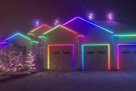 A christmas light installation in Grande Prairie.