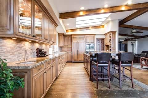 A picture of a good lighting design layout in a Grande Prairie house kitchen.